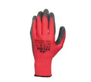 Перчатки литая трикотаж / нитрил красная- фото