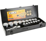 """Набір торцевих головок, трещітка Topex (38D296) 3/4 """"20шт.- фото"""