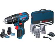 Комплект з шуруповерта Bosch GSR 12V-15 + 2 акумулятора: на 2 Аг і на 4 Аг + набір біт і свердел 39 шт.- фото